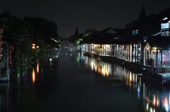 一个小镇西塘的夜场面 库存图片