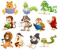 一个小组动物读 免版税图库摄影