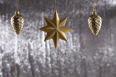一个小组圣诞节杉木锥体和星 图库摄影