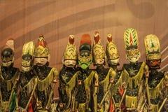 一个小组地道印度尼西亚阴影木偶, Wayang 免版税库存照片