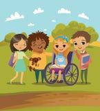 一个小组有使用的书和的宠物的愉快的孩子一起学会和 在轮椅的有残障的孩子 户外学校场面 向量例证
