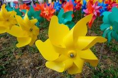 一个小组玩具花风车 图库摄影