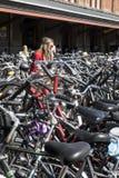 一个少妇在一百辆自行车中间拴住她的自行车,在阿姆斯特丹火车站的停车处 免版税库存照片