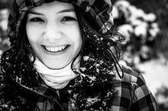 一个少妇的照片雪的 免版税库存图片