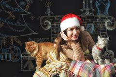 一个少妇的画象圣诞老人盖帽的圣诞节背景的 库存照片