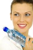 一个少妇的画象有一个瓶的水 库存图片