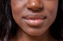 一个少妇的嘴唇和鼻子 免版税图库摄影