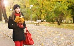 一个少妇的画象有下落的叶子的 库存照片