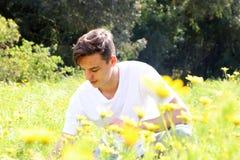一个少年年轻男孩获得乐趣在菊花的领域 免版税图库摄影