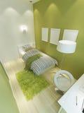 一个少年的室在浅绿色和白色c的一个现代样式的 皇族释放例证