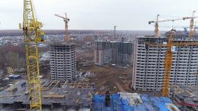 一个居民住房块的一个现代建造场所 股票视频