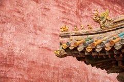 一个屋顶在故宫,北京中国的细节 库存照片