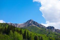 一个山峰的一个风景看法春天 免版税库存图片