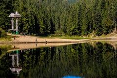 一个山森林的反射在Synevyr湖 图库摄影