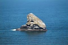 一个岩石海岛在离俄勒冈海岸的附近 免版税库存照片