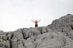 一个岩石的上流的远足者在比利牛斯 库存图片