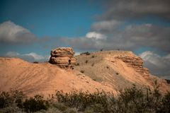 一个岩石的特别形成在米德湖国家公园 库存照片