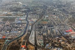 一个工业区的空中射击在中国 免版税库存照片