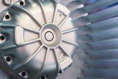 一个工业爱好者的叶轮的马达和刀片 特写镜头 库存照片