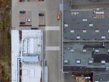 一个工业计划的工厂和大厅,平直从上面 库存照片