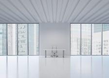 一个工作场所在一个现代全景办公室在纽约 库存图片