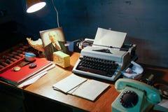 一个工作场所的照片在苏联时的 库存图片