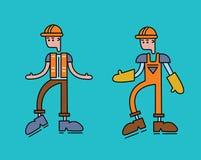 一个工作者人,橙色制服的字符总体的 向量例证,查出在白色 免版税库存图片