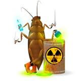 一个巨型蟑螂喝从生锈的桶的放射性可乐和化学制品废物 在a的毒性绿色萤光液体 向量例证
