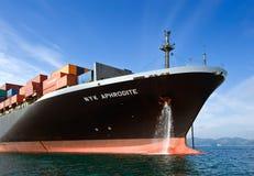 一个巨大的集装箱船NYK美之女神的弓停住的在路 不冻港海湾 东部(日本)海 17 09 2015年 库存照片