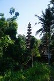 一个巴厘语寺庙的屋顶在一个绿色庭院里 免版税库存照片