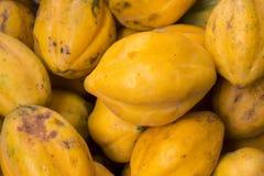 从一个市场的新鲜和鲜美番木瓜在阿雷基帕,秘鲁 小于通常这个番木瓜称Papaya ArequipeA±aa 图库摄影