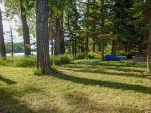 一个帐篷在森林里 免版税库存照片