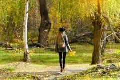 一个帽子的女孩有站立在秋天森林后面视图的背包的 库存图片