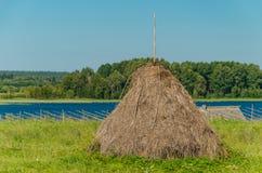 一个干草堆的特写镜头以河和森林农村风景为背景的 农业概念,收获概念 免版税库存照片