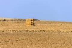 一个干草堆的看法领域的 免版税库存照片