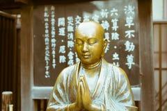 一个平安的和尚的雕象Senso籍寺庙的,东京,日本 库存图片