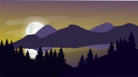 一个平的风景设计登上晚上 免版税库存图片