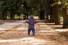 一个年小孩用木棍子在他的运行在秋天公园的手上 回到视图 免版税图库摄影
