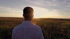 一个年轻人在领域走在日落 股票录像