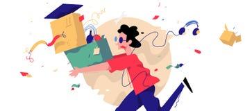 一个年轻人的例证有箱子和事的 传染媒介Illust 免版税库存图片