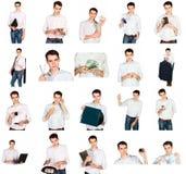 一个年轻人的拼贴画有办公室的反对 免版税图库摄影