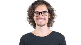 一个年轻人的画象有卷发微笑的 免版税库存照片
