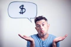 一个年轻人的画象有讲话泡影的美元的符号h 库存图片