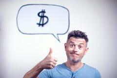 一个年轻人的画象有讲话泡影美元的符号的 库存图片