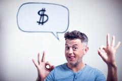 一个年轻人的画象有讲话泡影美元的符号的 免版税库存图片