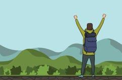 一个年轻人,后面观点的背包徒步旅行者用被举的手在一个多小山区域 远足者,探险家 成功的符号 向量 库存例证