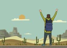 一个年轻人,后面观点的背包徒步旅行者用被举的手在沙漠 远足者,探险家 成功的符号 向量 库存例证