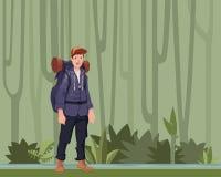 一个年轻人,密林森林远足者的背包徒步旅行者,探险家 与拷贝空间的传染媒介例证 向量例证