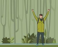 一个年轻人,背包徒步旅行者用在密林森林远足者的被举的手,探险家,登山家 成功的符号 皇族释放例证
