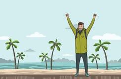 一个年轻人,背包徒步旅行者用在海海滩的被举的手 远足者,探险家 成功的符号 也corel凹道例证向量 向量例证
